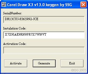 corel draw x3 v13.0 keygen by ssg